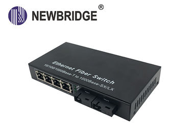 4 RJ45 port 20KM ke 120KM FTTH gigabit media converter dengan 2 port fiber